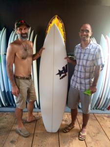 Picking up my first new board in about…9 years! With shaper Shawn Vecchione.
